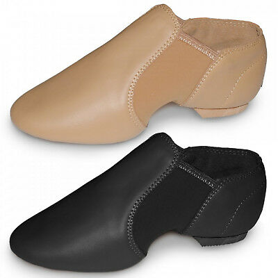 Roch Valley Slip On Split Sole Neoprene Jazz Shoes Dance 7C-11A Rvneo Black Tan