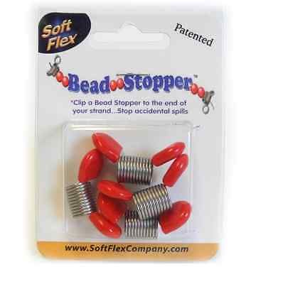 Soft Flex Large Bead Stoppers Red Tip Pack of 4 Stringing Necklace Beads FB42RED