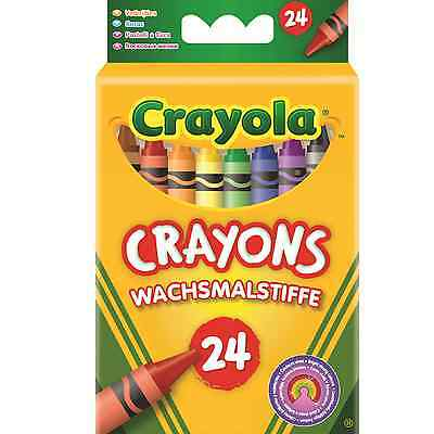 Crayola 24 Wax Crayons Bright Strong Colour Sticks Colouring Stationery Children