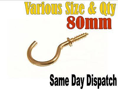 Brass Plated 80Mm Heavy Duty Screw In Hooks You Choose Quantity