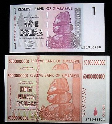 3 Zimbabwe banknotes-2 x 50 Billion dollars + 1 dollar-paper money currency
