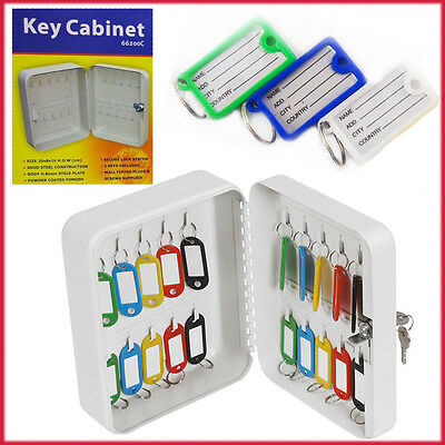 Security Wall Mount Key Cabinet Lock System Steel Box with 20 Key Hooks Office
