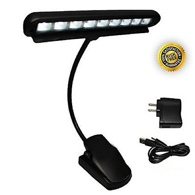eTech 9 LED Clip On Music Light Stand Adjustable Neck Bright Piano Booklight