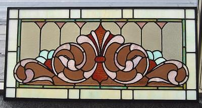 Victorian Stained Glass Fleur De Lis Design Circa 1910 Greens Lilac and Rust