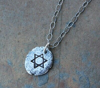 Star of David Fragment Necklace- fine silver antiqued handmade charm- Judaism