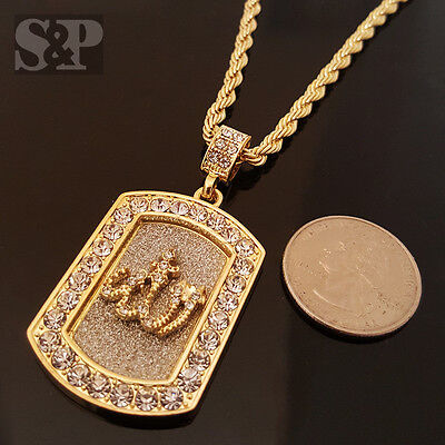 """HIP HOP GOLD ICED OUT ALLAH MUSLIM CZ ROUND PENDANT /& 24/"""" ROPE CHAIN NECKLACE"""