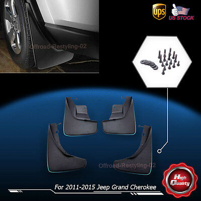 For 2011-2015 Jeep Grand Cherokee Front Rear Molded Splash Guards Mud Flaps