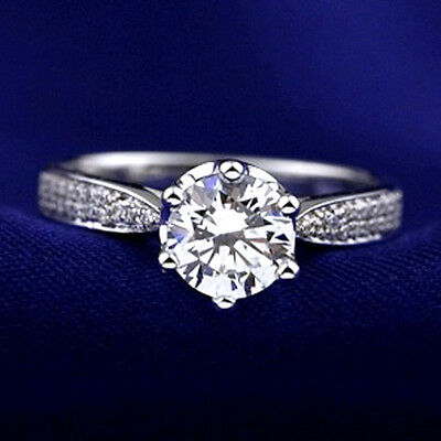 18K White Gold Gf Ladies 2Ct Solitaire Simulated Diamond Engagement Wedding Ring