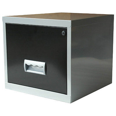 Pierre Henry Maxi desktop single drawer A4 filing cabinet - Black and silver