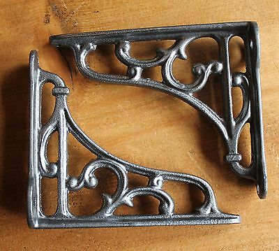 "Pair PEWTER 4"" SMALL ANTIQUE VINTAGE CAST IRON VICTORIAN SHELF BRACKETS BR04px2"