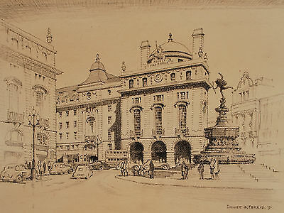 Original Mid Century Drawing Piccadilly Circus - Sidney Ferris 1951 - 1950's