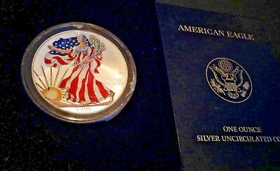 1999 FULL COLORIZED American Silver Eagle 1 Troy Oz,1 Dollar Coin BU.999 #308.