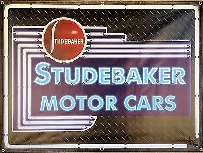 Studebaker Cars Dealer Marquee Neon Style Printed Banner Sign Remake Art 4' X 3'