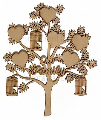MDF Our Family BIRDCAGE Wall Plaque Tree Shape Memory Tree Craft, Embellishment