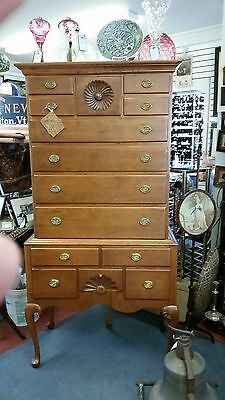 Estate Connecticut Queen Anne Highboy Cherry Unusual Full Circle Shell C-1760