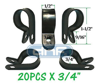 "20 Pack 3/4""  Black Nylon Cable Clamp Uv Weather Resistant - Ships Free Today!"