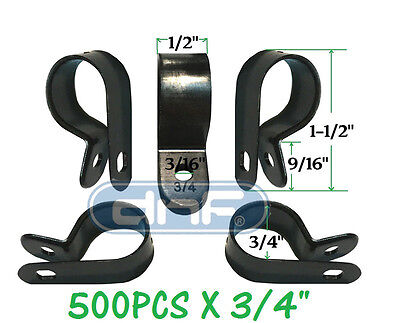 "500 Pack 3/4"" Black Nylon R-Type Cable Clamp Uv Weather Resistant - Ships Today!"