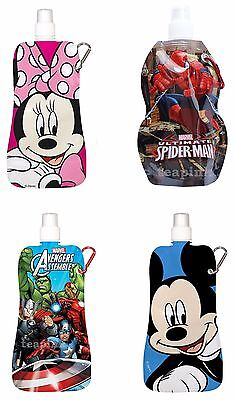 Collapsible Water Bottle Disney Mickey Minnie Mouse Avengers Spiderman Foldable