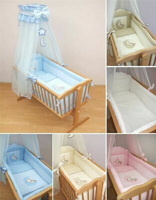 10 Piece Crib Baby Bedding Set 90x40 cm Fits Swinging Rocking Cradle - Moon