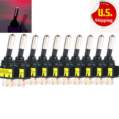 Lot 10 DC 12V 20A Car Auto Red LED Light Toggle Rocker Switch 3Pin SPST ON/OFF