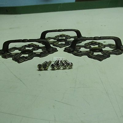 BRASS PULL HANDLES WITH BACK PLATES OLD VINTAGE used