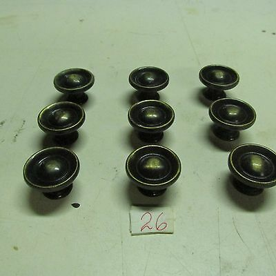 PULL KNOBS ROUND BRASS (lot of 8) ANTIQUE used