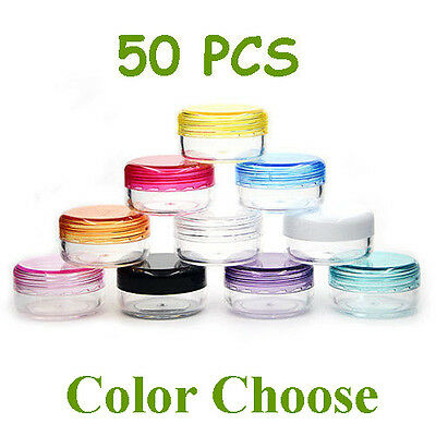 50 x 3ml Colors Plastic Sample Pots/Jars Glitter/Make Up/Cosmetic/Nail Art/Cream