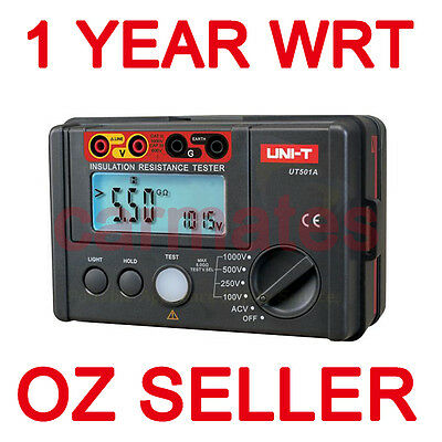 UNI-T INSULATION UT501A RESISTANCE TESTER MEGOHMMETER 1 YEAR WRT free carry case