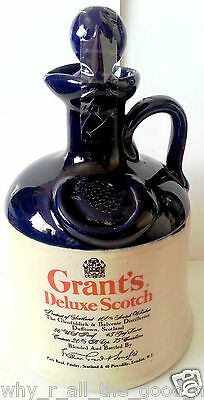 Vintage GRANT's DELUXE SCOTCH WHISKY Clay Stoneware BOTTLE Jug DECANTER Empty [2