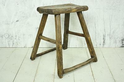Vintage Rustic Antique Wooden Stool Milking Large Varnished V140