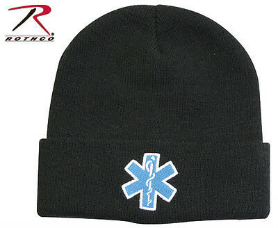New EMT/EMS Paramedic Knit Beanie Watch Cap w/ Embroidered Star Of Life Logo