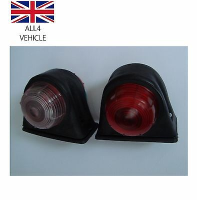 2 X Red White Side Marker Outline Lights Indicator Lamps Truck Lorry Trailer