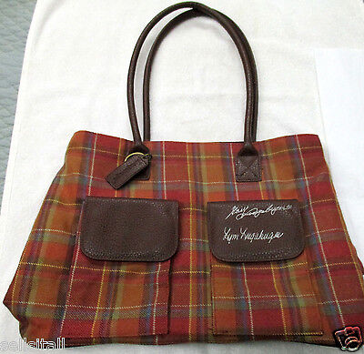 Vintage Longaberger Tote Purse Bag Toboso Plaid 25th Bee Anniversary~SIGNED x 2