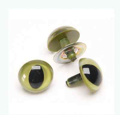 CATS GREEN SAFETY TOY EYES 15mm METAL BACK Soft Toy Making Animal Craft  x 1 set
