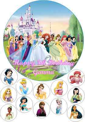 Personalised 19cm Disney Princess Edible Wafer Cake Topper + 12 Cupcake Toppers