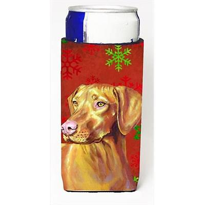 Vizsla Red And Green Snowflakes Holiday Christmas Michelob Ultra bottle sleev...