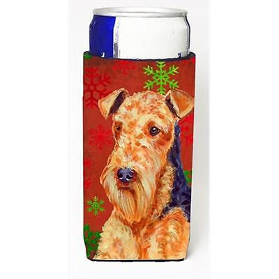 Airedale Red And Green Snowflakes Holiday Christmas Michelob Ultra bottle sle...