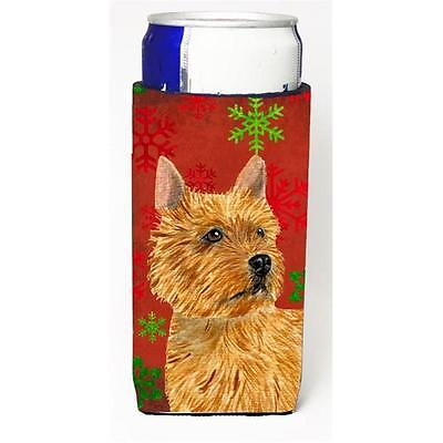 Norwich Terrier Red And Green Snowflakes Holiday Christmas Michelob Ultra bot...