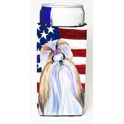 Usa American Flag With Shih Tzu Michelob Ultra bottle sleeves For Slim Cans