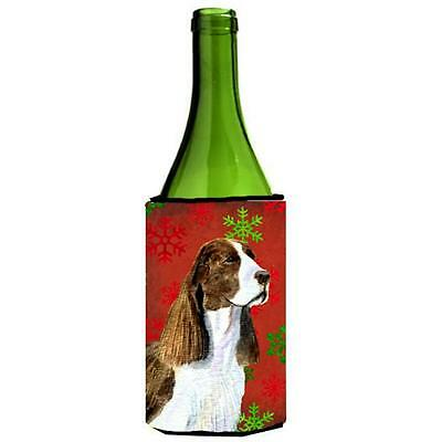 Springer Spaniel Red And Green Snowflakes Holiday Christmas Wine bottle sleev...