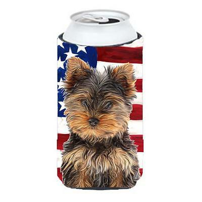 USA American Flag with Yorkie Puppy & Yorkshire Terrier Tall Boy bottle sleev...