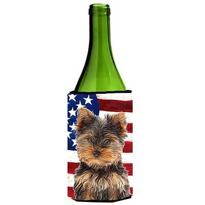 USA American Flag with Yorkie Puppy & Yorkshire Terrier Wine bottle sleeve Hu...