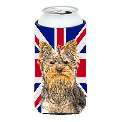 Yorkie & Yorkshire Terrier with English Union Jack British Flag Tall Boy bott...