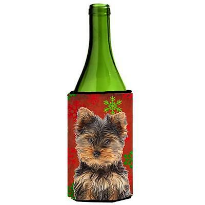 Red Snowflakes Holiday Christmas Yorkie Puppy & Yorkshire Terrier Wine bottle...