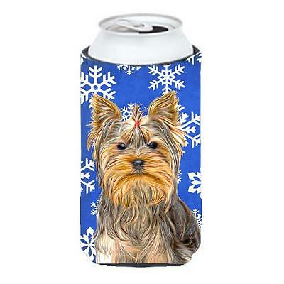 Winter Snowflakes Holiday Yorkie & Yorkshire Terrier Tall Boy bottle sleeve H...
