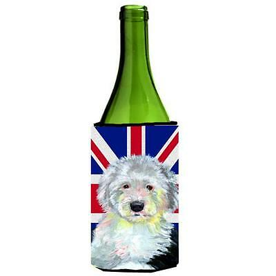 Old English Sheepdog With English Union Jack British Flag Wine bottle sleeve ...