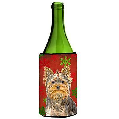 Red Snowflakes Holiday Christmas Yorkie & Yorkshire Terrier Wine bottle sleev...