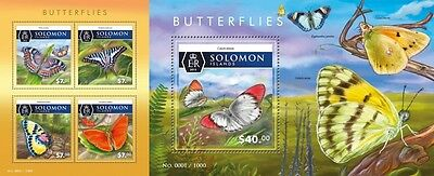 Z08 Imperforated SLM15508ab SOLOMON ISLANDS 2015 Butterflies MNH Postfrisch Set