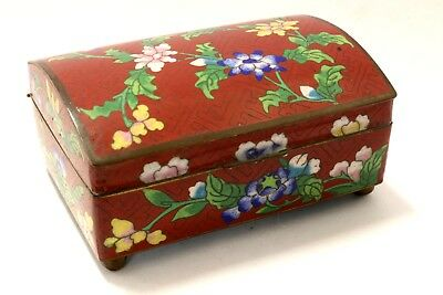 Rare Chinese Cloisonné Enamel Box with Beautiful Floral Design Original