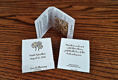 "50 Personalized Wedding Party Favors Mint Matchbook Style DIY Covers 1.7/""x2.25/"""